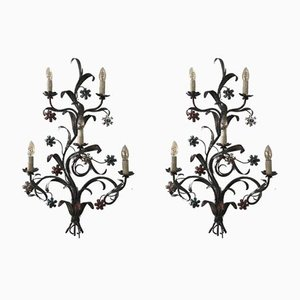 Large Vintage Italian Patinated Metal Sconces, Set of 2