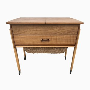 Mid-Century Teak Sewing Table on Casters