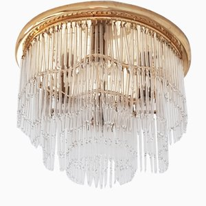Mid-Century Gilded Flush Mounth with Glass Rods by Peris Andreu