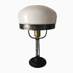Antike schwedische Jugendstil Tischlampe aus Schmiedeeisen & Glas