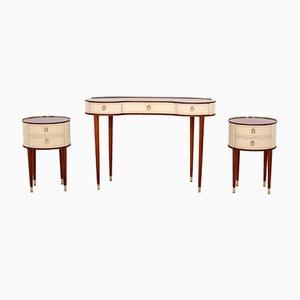 Vintage Vanity Tisch & 2 Nachttische von Pettersson Halvdan für Tibro Möbelfabrik, 1940er
