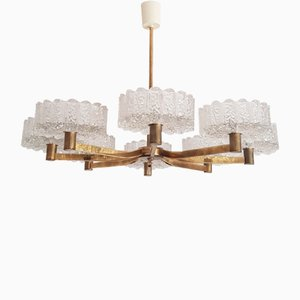 XXL Chandelier Kalmar Style Frosted Glass and Brass, 1960s