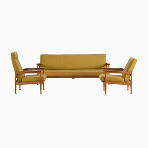 Vintage Scandinavian Teak & Wool Living Room Set, 1960s
