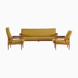 Vintage Scandinavian Teak & Wool Living Room Set, 1960s