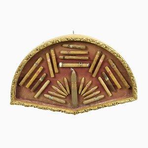Bandeja de puros antigua de madera dorada