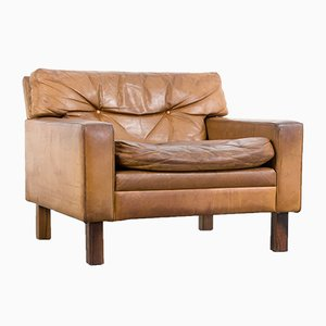 Vintage Leather Square Lounge Chair, 1960s