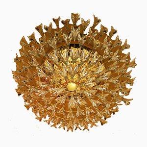 Kronleuchter aus vergoldetem Messing & Kristallglas von Stilkronen, 1970er