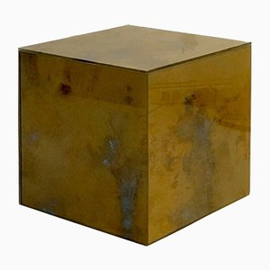 Mesa de centro francesa vintage en forma de cubo dorado de Maison Jansen, años 70