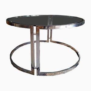 Tavolino da caffè rotondo Coulsdon Mid-Century in vetro ed acciaio di William Plunkett
