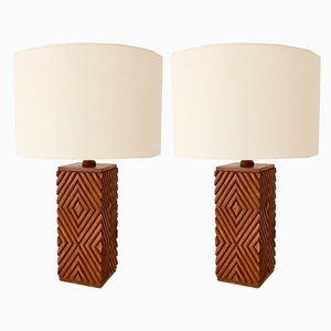 Lámparas de mesa italianas vintage grandes de madera tallada, años 70. Juego de 2
