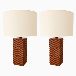 Large Vintage Italian Carved Wood Table Lamps, 1970s, Set of 2