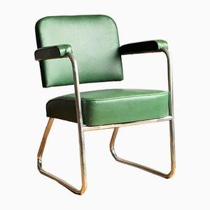 Vintage Bauhaus Style Geen Skai & Tubular Steel Lounge Chair, 1940s