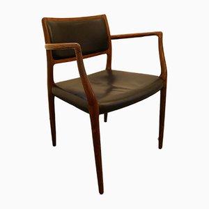 Modell 65 Beistellstuhl mit Gestell aus Palisander & Bezug aus schwarzem Leder von Niels Otto Møller, 1950er