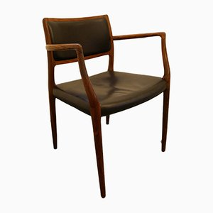Rosewood & Black Leather Model 65 Side Chair by Niels Otto Møller, 1950s
