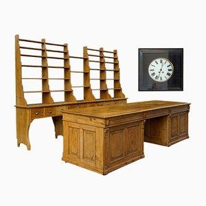Large Antique Belgian Shop Counter with Shelves & Clock, 1890s