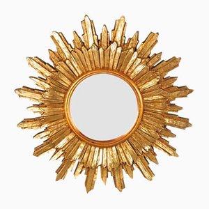 Sonnenförmiger Spiegel mit Rahmen aus Holz, 1950er