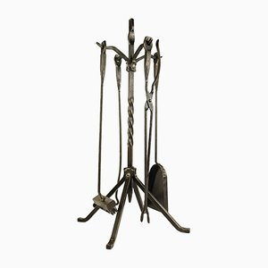 Mid-Century Wrought Iron Fireplace Set