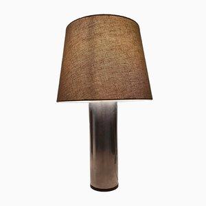 Lampada da tavolo vintage in acciaio spazzolato e teak di Uno & Östen Kristiansson per Luxus, Svezia, anni '60