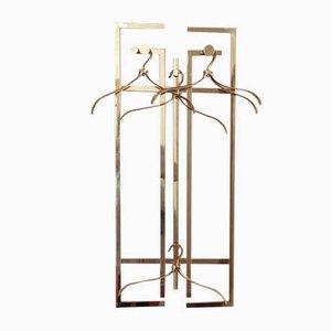 Art Deco Messing Wandregal mit Kleiderbügeln, Spiegel & Konsolentisch