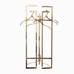 Vintage Brass Wall Rack with Hangers, Mirror & Console Table Set