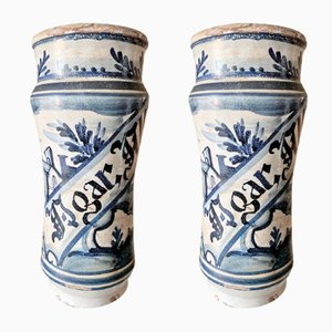 Antique Spanish Ceramic Vases, Set of 2