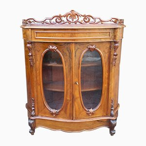 Antique Louis Phillipe Walnut & Glass Display Cabinet