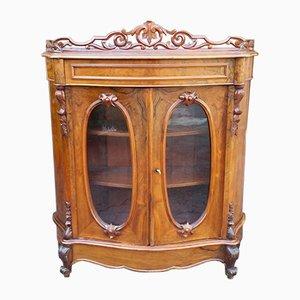 Vitrina Louis Phillipe antigua de nogal y vidrio