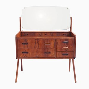 Small Vintage Swedish Rosewood Dresser with Mirror from Plyfa, 1960s