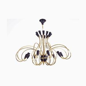 Lámpara de araña italiana vintage de 24 brazos de G.C.M.E., años 50