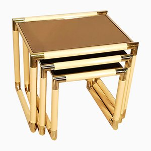 Brass Nesting Tables by Tommaso Barbi, 1970s, Set of 3