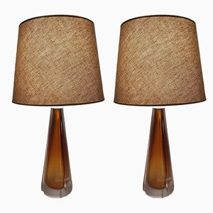 Vintage Swedish Frosted Glass Table Lamps from Kosta, 1950s, Set of 2