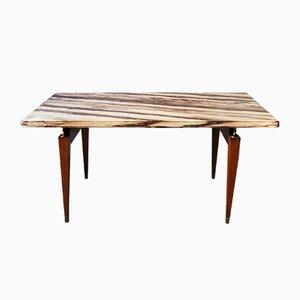 Table Basse Vintage en Bois, Marbre et Laiton, Italie, 1950s