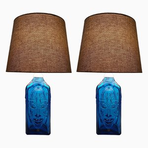 Vintage Swedish Art Glass Table Lamps by Ateljé Engberg for Eneryda Glasbruk, 1950s, Set of 2