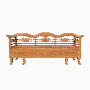 Antique Swedish Folk Art Pine Bench, 1860s