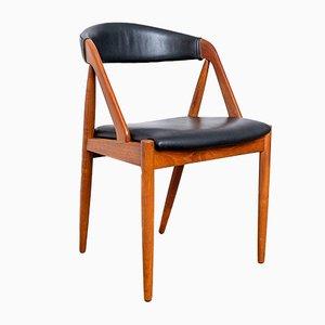 Silla de escritorio vintage de teca y cuero sintético de Kai Kristiansen para Schou Andersen, años 60
