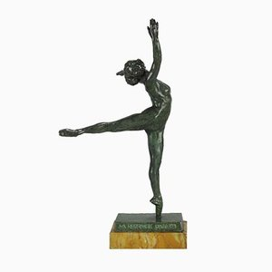 Bronze Dancer Sculpture by S. Yourievitch, 1920s