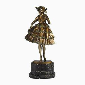 Österreichische Frauenskulptur aus Bronze von Bruno Zach, 1920er