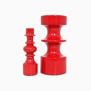 Rote 150/25 Kerzenhalter aus Keramik von Steuler Cari Zalloni, 1960er, 2er Set