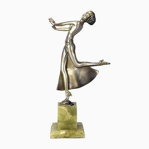 Versilberte & emaillierte Joy Skulptur von Josef Lorenzl, 1930er