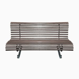 Mid-Century Wood & Metal Outdoor Bench