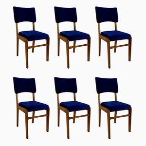 Vintage Esszimmerstühle mit blauem Bezug von Rajmund Halas, 1970er, 6er Set