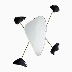 French Wall Mirror from George Jouve and Marcel Asselbur, 1950s