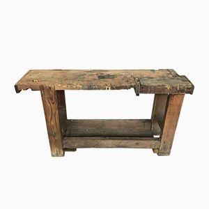 Tavolo da lavoro vintage in legno massiccio