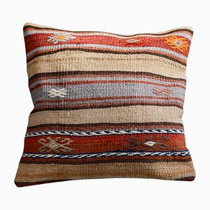 Orange & Beige Wool and Cotton Striped Kilim Pillow Cover by Zencef Contemporary