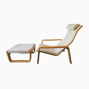 Lounge Chair and Ottoman by Ilmari Lappalainen for Asko, 1960s, Set of 2