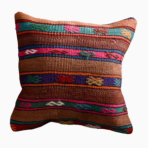 Brown & Pink Wool and Cotton Striped Kilim Pillow Cover by Zencef Contemporary