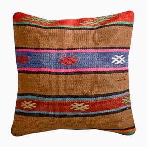 Brown Wool & Cotton Striped Kilim Pillow Cover by Zencef Contemporary