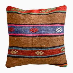 Cojín Kilim de lana y algodón marrón a rayas de Zencef Contemporary