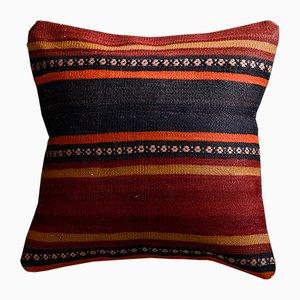 Federa per Federa Kilim in lana rossa e nera e cotone di Zencef Contemporary