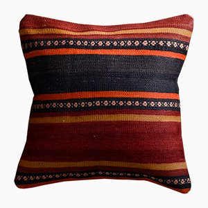 Red and Black Wool & Cotton Striped Kilim Pillow Cover by Zencef Contemporary